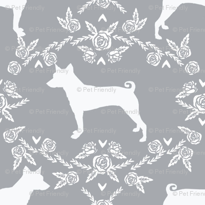 basenji floral silhouette dog breed fabric grey