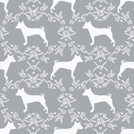 basenji floral silhouette dog breed fabric grey fabric by petfriendly on Spoonflower - custom fabric