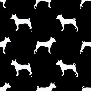 basenji silhouette dog breed fabric black and white