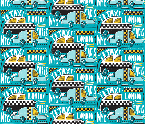 Yo Taxi - Aqua fabric by heatherdutton on Spoonflower - custom fabric