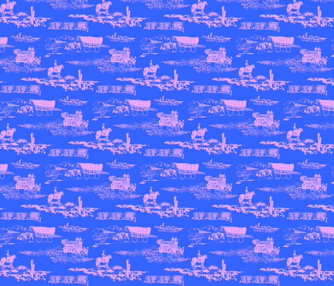 Western Wheels blue pink fabric by agregorydesigns on Spoonflower - custom fabric