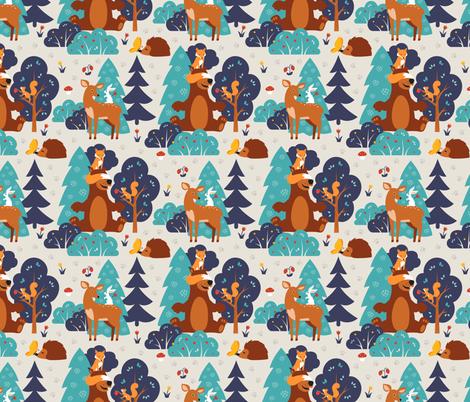 Forest friends fabric by brazhnikova_ekaterina on Spoonflower - custom fabric
