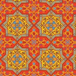 Orange and blue square tile