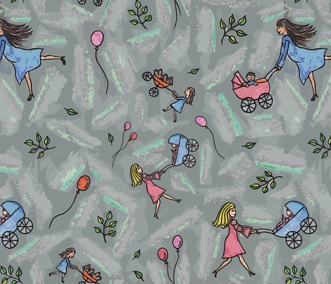 Happy stroller fabric by lucybaribeau on Spoonflower - custom fabric