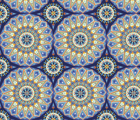 Decorative blue tile fabric by emma_heeson_design on Spoonflower - custom fabric