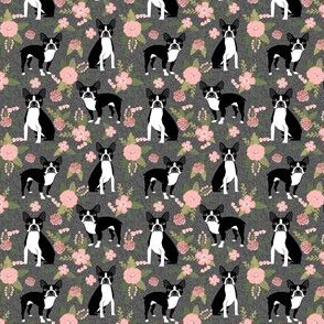 Boston Terrier Floral (small scale) - Pet Quilt D - dog floral, florals,  - charcoal