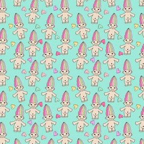 90s nostalgia fabric // cute dolls toys pastel rainbows fabric hand-drawn cute design