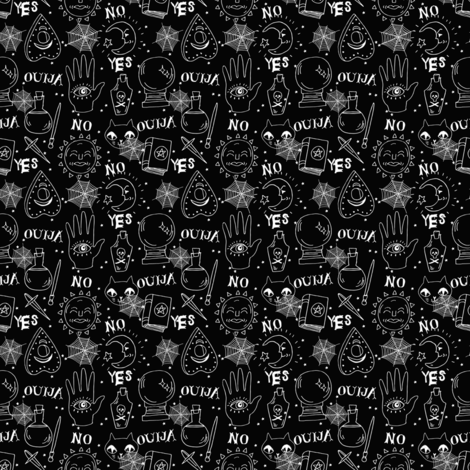Ouija (small scale) cute halloween pattern october fall themed fabric black and white print by andrea lauren fabric by andrea_lauren on Spoonflower - custom fabric