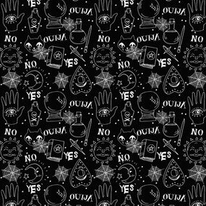 Ouija (small scale) cute halloween pattern october fall themed fabric black and white print by andrea lauren