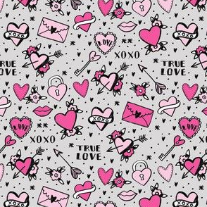 retro tattoos (small scale)// hearts tattoos stickers love valentines day grey