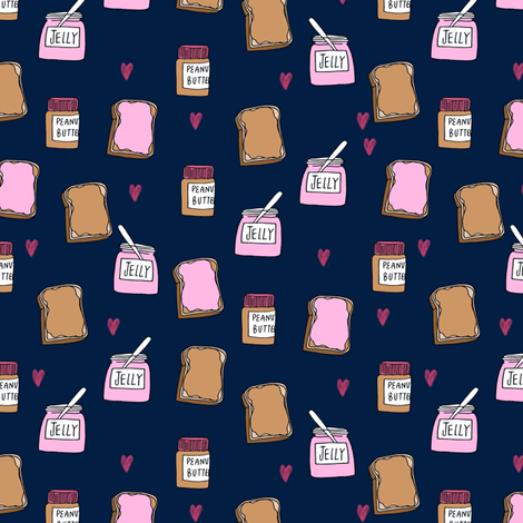 pbj (small scale) // peanut butter and jelly fun kids foods fabric navy fabric by andrea_lauren on Spoonflower - custom fabric