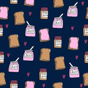 pbj (small scale) // peanut butter and jelly fun kids foods fabric navy