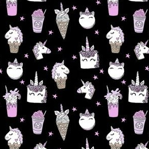 unicorn food (small scale) // ice cream cone unicorns cake cute kawaii rainbows fabric black