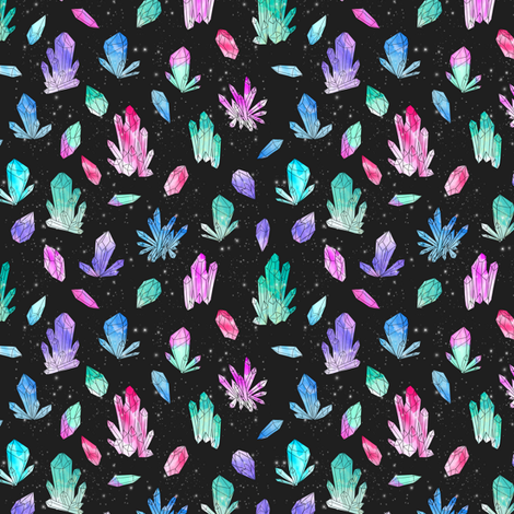 Watercolor Crystals (small scale) - Black by Andrea Lauren fabric by andrea_lauren on Spoonflower - custom fabric
