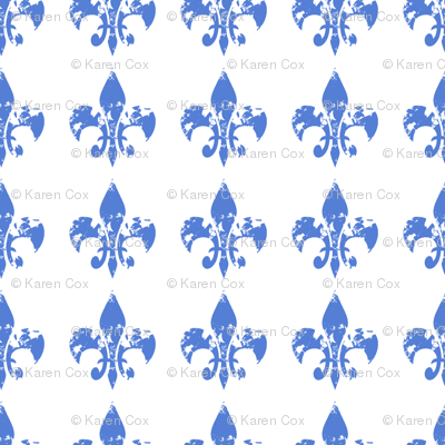 Country French fleur di lis blue on white background