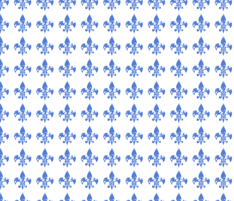 Country French fleur di lis blue on white background fabric by karenharveycox on Spoonflower - custom fabric