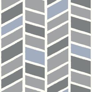 gray and blue herringbone