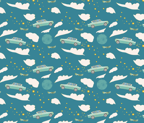 Mr. Weasley's Flying Car fabric by katie_hayes on Spoonflower - custom fabric