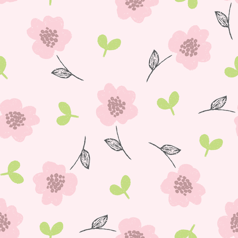 pink blooms fabric by littlefoxhill on Spoonflower - custom fabric
