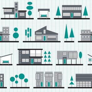 Modernist Neighborhood (Teal)