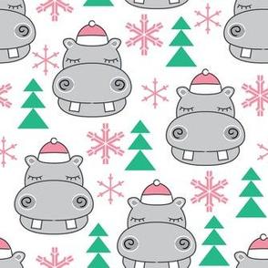 hippos-with-pink-santa-hats