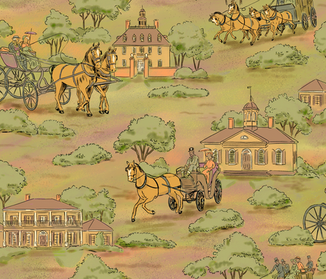 Horse and Carriages Subdued fabric by vinpauld on Spoonflower - custom fabric
