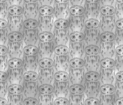 Watercolor Owls - Gray