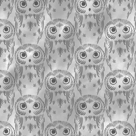 Watercolor Owls - Gray fabric by siya on Spoonflower - custom fabric