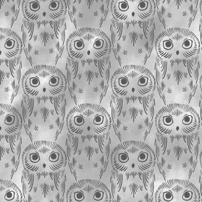 Watercolor Owls - Gray