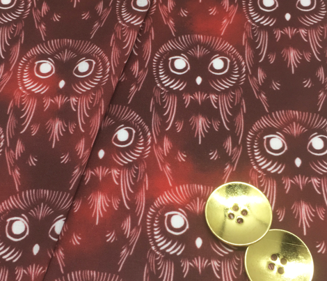 Watercolor Owls - Black Cherry
