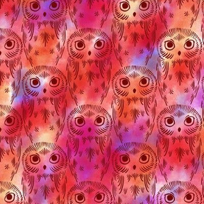 Watercolor Owls - Red