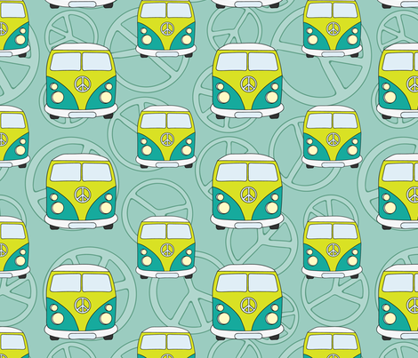 Hippie minivans seamless pattern fabric by pillowfighter on Spoonflower - custom fabric