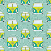 Hippie minivans seamless pattern
