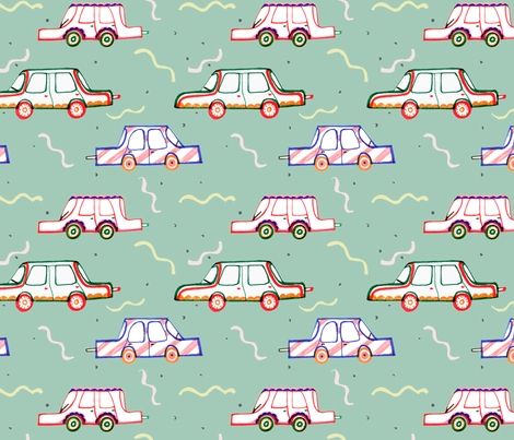 A Minty Drive fabric by alicemoore on Spoonflower - custom fabric
