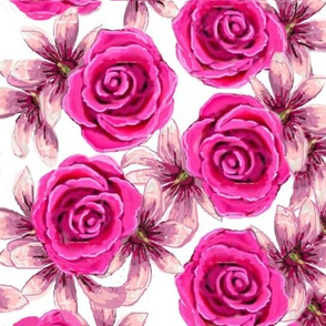 pink roses and lilies 01