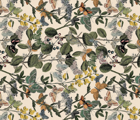 Autumn In The Butterflies' Garden ~ Rotated   fabric by peacoquettedesigns on Spoonflower - custom fabric