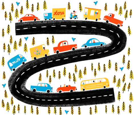 Weekend drive (large format) fabric by anda on Spoonflower - custom fabric