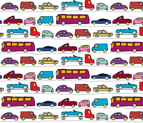 bumper to bumper traffic fabric by vintage_style on Spoonflower - custom fabric