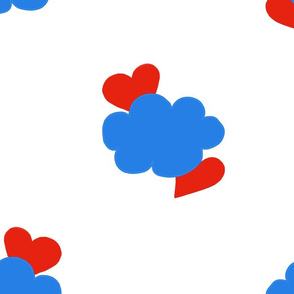 Cloud Hearts Red, White and Blue Sky