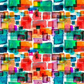orange and teal watercolor squares