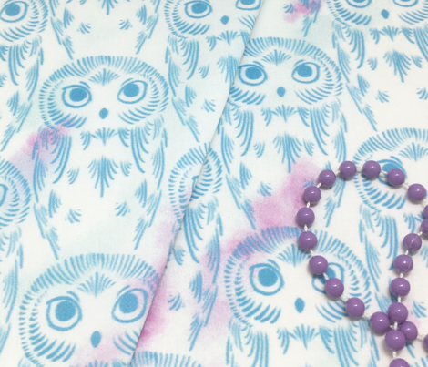 Watercolor Owls - Crystal Blue