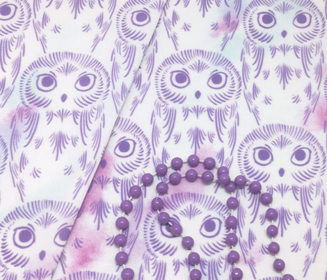 Watercolor Owls - Crystal Violet