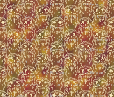 Watercolor Owls - Autumn Earth
