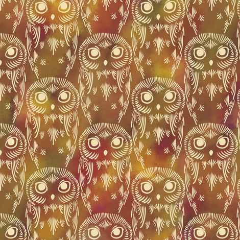 Watercolor Owls - Autumn Earth fabric by siya on Spoonflower - custom fabric