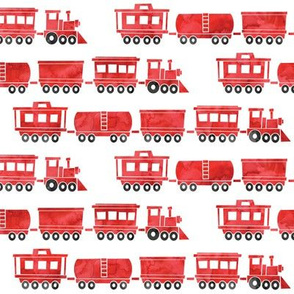 trains - red watercolor (w/ black)