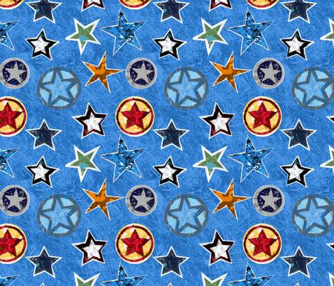 Super Stars on Blue fabric by aaron_christensen on Spoonflower - custom fabric