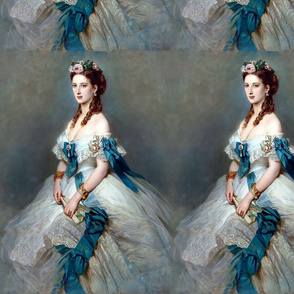 queens princesses white blue gowns bridal bride roses florals flowers bows baroque victorian wedding marriage coronation beauty royal lace ringlets gold necklaces empresses ballgowns rococo royal portraits beautiful lady woman elegant gothic lolita egl ne