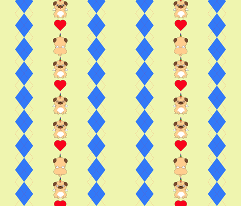 Unicorn Pugs Argyle (Yellow) fabric by mindful_doodler on Spoonflower - custom fabric