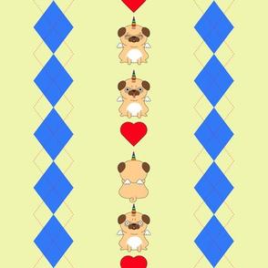 Unicorn Pugs Argyle (Yellow)