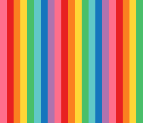 rainbow stripes 1 inch vertical fabric by misstiina on Spoonflower - custom fabric